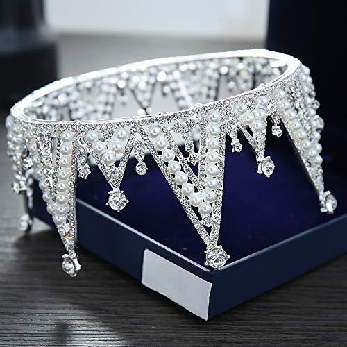 Wedding Crown, Beautiful headdress/Bridal Baroque Crystal Queen Crown Wedding Headwear Photo Studio Wedding Dress Pearl Jewelry by Junson (Image #6)