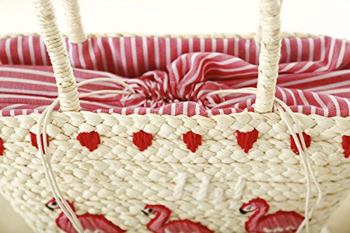 Mogor Women Straw Shoulder Bag A5 Woven Shopping Tote Bag Drawstring Beach Bag Large 1# by Mogor (Image #3)
