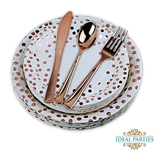 125 PCS Rose Gold Dot Disposable Paper Plates and Plastic Silverware Dot Design, 25 Dinner and Dessert Plates, 25 Forks, Spoons and Knives! for Any Special Occasion! Bridal, Birthday, Bachelorette! -