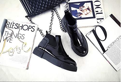 FMWLST Stiefel Knöchel Damen Stiefel Frühjahr Und Herbst Einfache Einfache Einfache Reihe Von Hellen PU Plateaustiefel  f6c7e7