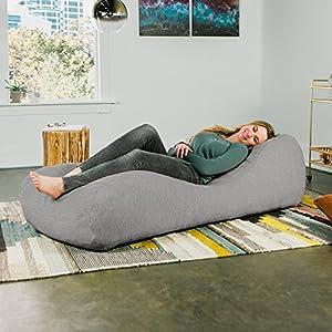 Jaxx Arlo Chaise Lounger Bean Bag Chair – Premium Chenille, Grey