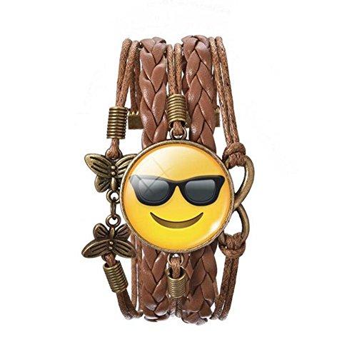 [ZhiDa Cute Sunglasses Emoji Charm Bracelet for Girls Women Kids] (Gumball Machine Costume For Kids)