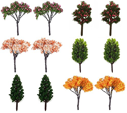 HUIANER 12 Pcs Miniature Fairy Garden Tree Plant Ornamentm, Miniature Dollhouse Pots Decor Moss Bonsai Micro Landscape DIY Craft Garden Decoration      ()