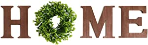 Hanging Wood Home Sign with Wreath,O Shaped Artificial Eucalyptus Wreath Decoration,Wooden Home Letters for Wall Art Living Room Kitchen Entryway