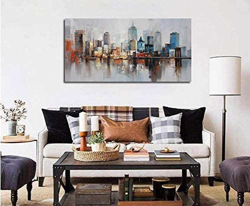Canvas Wall Art Prints Modern Abstract Cityscape Brooklyn Bridge Painting Framed Extra Large
