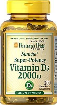Puritan's Pride Vitamin D3 2000 IU-200 Softgels