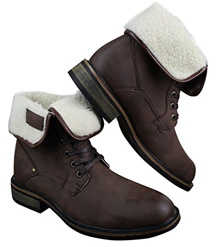 Mens Black Brown Brown Combat Boots Leather Military Casual Army Fur Ankle Lined Fleece rFrR67wxqn