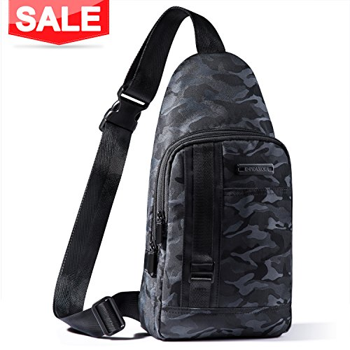 E-PRANCE Sling Backpack, Chest Bag Shoulder Backpack Crossbody Travel Backpack for School Cycling Hiking Camping Sport Travel - Black with Camouflage Patterns