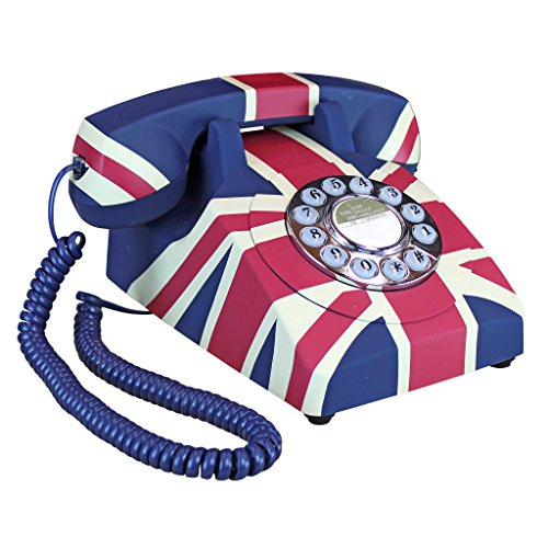 Design Toscano British Flag Antique Union Jack Rotary Corded Retro Phone-Vintage Decorative Telephones, one Size, Full Color