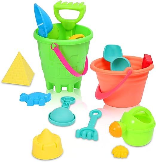 ThinkMax 27 Piezas de Juego de Playa, Playa Castillo de Arena Juego de Palas de Cubo Pala rastrillo, Kit de Herramientas Modelo de Verano al Aire Libre para niños: Amazon.es: Juguetes y