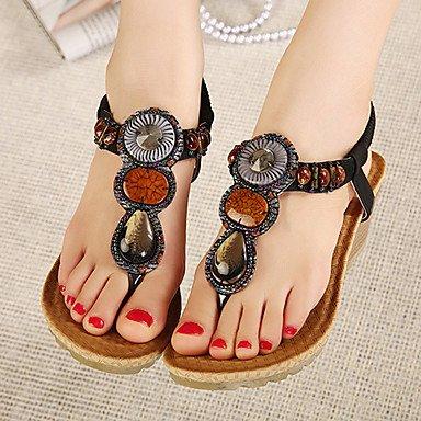 FSCHOOLY Womens Shoes Polipiel Primavera Verano Comodidad Novedad Botas Moda Sandalias De Tacón De Cuña Para Casual Negro De Almendra Negro