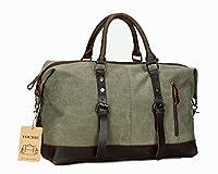 Oversized Leather Canvas Duffel Tote Weekender Travel Shoulder Handbag Gift Idea