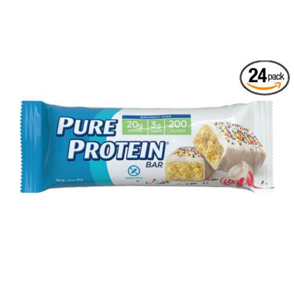 Pure Protein Bars, Gluten Free, Birthday Cake, 1.76 oz, 6 Count - Pack of 24