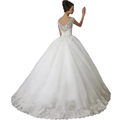 Dimei V-Neck Cap Sleeves Bridal Gowns for Bride 2018 Lace Beaded ...