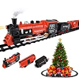 Roxie Limited 20 Pcs Around Christmas Tree Classic Train Set for Kids, Battery Powered with Music & Lights, Christmas Spirit, 47 x 33 inch Oval for Under Tree Decor