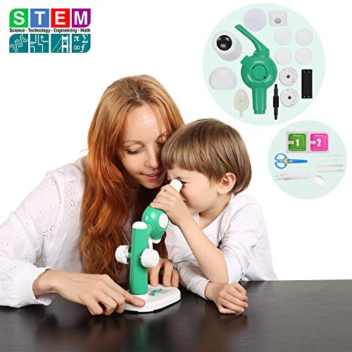 Donzy Take Apart Microscope Toy - Educational DIY STEM Microscope for Preschoolers with Assemable Parts, 15X Science Microscope Take Apart Toy with 5 Prepared Slides for 4-8 Year Old Kids (Green)