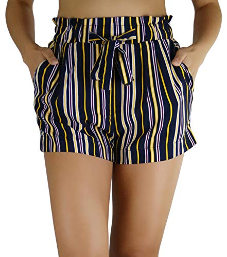 ToBeInStyle Women's Multi-Stripe Paperbag Shorts - Multistripe Navy - Small