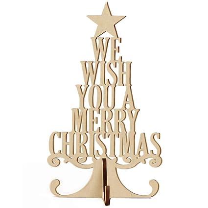 LanLan Ornamento de Madera del Ornamento del árbol de Navidad 3D Que cuelga el Regalo para