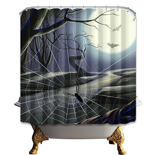 KOTOM Gothic Shower Curtain, Cartoon Spider and Bat