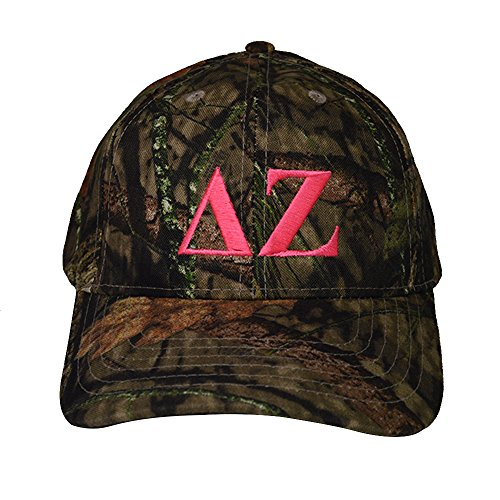 Delta Zeta Sorority Pink Letter Design Woods Mossy Oak Camouflage Hat Cap with Pink Thread Baseball Hat Camo dz (Ram Camo Beanie Dodge)