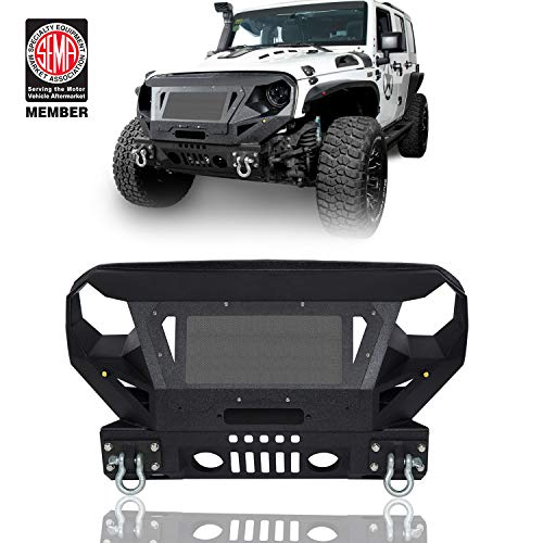 Jeep Wrangler Front Bumper w/Grille Guard & Winch Plate for Jeep Wrangler JK 2007-2018 - Fab Fours Jeep