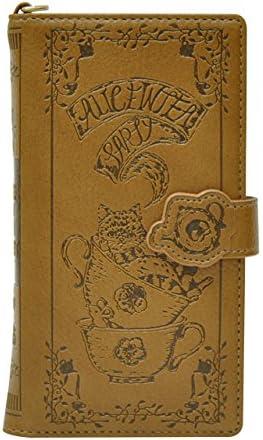 スマホケース 全機種対応 手帳型 カードポケット ミラー付き / Alice In Tea Party (ダークブラウン✕パステルピンク) [並行輸入品]