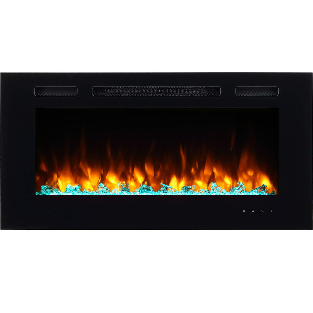 PuraFlame Alice 40 Inches Recessed Electric Fireplace, Wall Mounted for 2 X 6 Stud, Log Set Crystal, 1500W Heater, Black