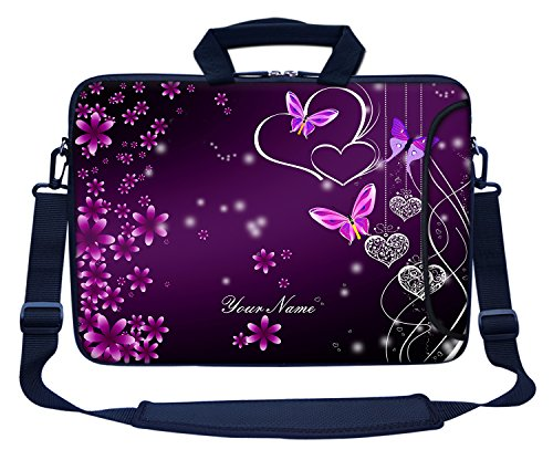 Meffort Inc Custom/Personalized Laptop Bag with Side Pocket & Shoulder Strap for Notebook Ultrabook Chromebook, Customized Your Name (15.6 Inch, Heart Butterflies A)