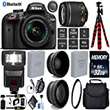 Nikon D3400 DSLR 24.2MP DX CMOS Camera AF-P 18-55mm VR Lens + Digital Slave SLR Flash + UV Protection Lens Filter + 12 inch Flexible Tripod + Camera Case - International Version