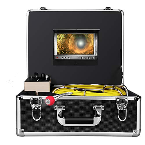 Pipe Pipeline Inspection Camera,ANYSUN 50m/164ft Pipe Inspection Camera Video System IP68 Waterproof Inspection Camera with 7 Inch LCD Monitor 1000TVL Sony CCD DVR Recorde(Include 8GB SD Card) ()