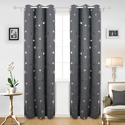 Deconovo Solid Grommet Curtains Window Blackout Curtains Silver Star Print Blackout Drapes For Infant Room 42x95 Inch Dark Grey Two Panels
