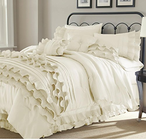 8 Piece Pearl White Ruffled Stripes Pattern Comforter Queen Set, for Luxury Modern Bedrooms, Beautiful Shabby Chic Ruffles Lines Design, Classic French Country Style, Neutral Solid Color, Unisex by MISC
