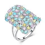 Beydodo Silver Plated Bridal Wedding Rings for Women Size 6 Leaf Ring Multi Color Emerald Cut Crystal