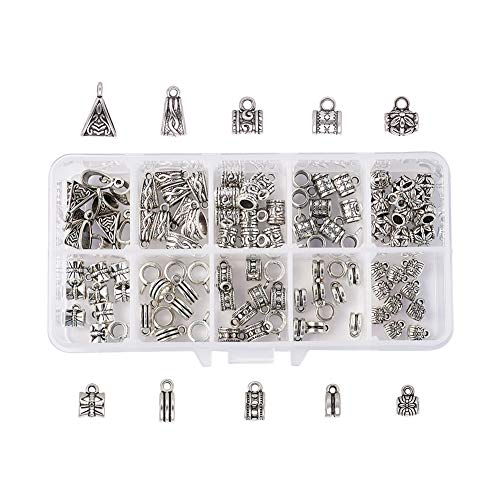 Silver Jewelry Pendant Charm Boxes (Beadthoven 100pcs/Box 10 Style Tibetan Style Bail Beads Antique Silver Connectors Bails Beads Charm European Bracelet Pendant Loop Hole to Hang Charms for Jeweley Making Finding Supplies Bead Spacers)