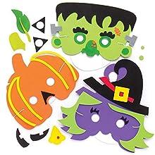 Baker Ross AR636 - Kits de caretas de Halloween (Pack de 4) para Manualidades Infantiles, Multicolor