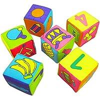 Goalftek 6 in 1 Set New Infant Baby Cloth Soft Rattle Building Blocks Educational Toys Baby Toy Soft Blocks Set Cube Cloth