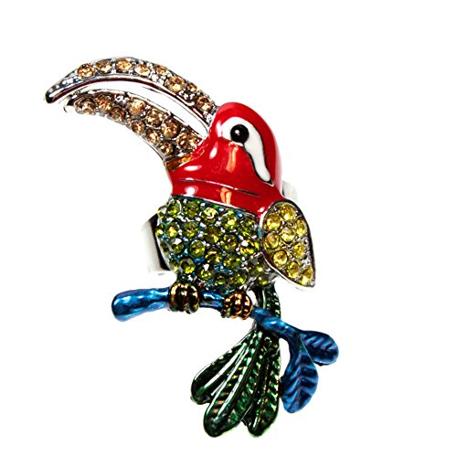 Toucan Bird Red, Green, Yellow, Blue Colorful Sparkling Rhinestone Cocktail