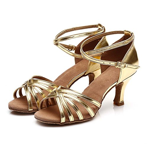 de Zapatos Oro de Latinos Baile El HROYL F13 Zapatos Mujeres ES7 satén PXFwdWq4