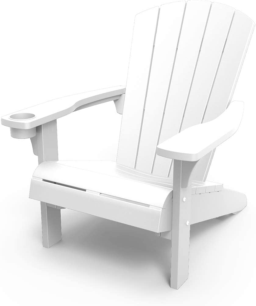 Keter Furniture Patio Chairs with Cup Holder - Perfect for Beach, Pool, and Fire Pit Seating, White