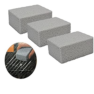3 Pack 100% Ecological Odorless Grilling Stone Cleaner,Removes Encrusted Greases, Stains, Residues, Dirt ,Reusable De-Scaling Stones