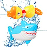 DX DA XIN Kids Water Squirt Guns, 2 Pack Animal Guns Toys Shark Duck Squirt Shooter Guns Blaster Toy for Swimming Pool Party Outdoor Beach Water Fighting Toys for 1-10 Year Old Boys Girls