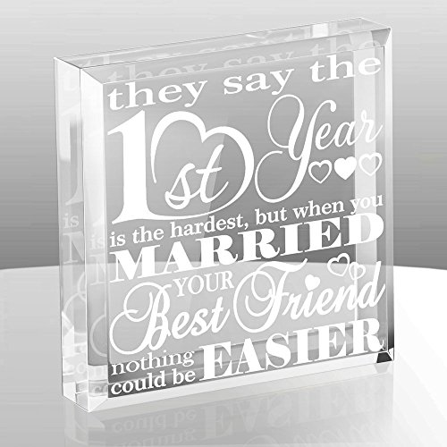 Kate Posh First Wedding Anniversary Paper Gifts - 1st year of Marriage Engraved Paperweight and Keepsake - Best Friends Wedding Gifts, First (1st), First Year as Husband & (Keepsake Glass Paperweight)