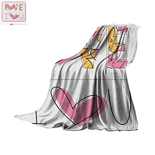 Luoiaax I Love You Throw Blanket Childish Love Words in Valentines Flowers and Heart Sketchy Hand Drawn Warm Microfiber All Season Blanket for Bed or Couch 62