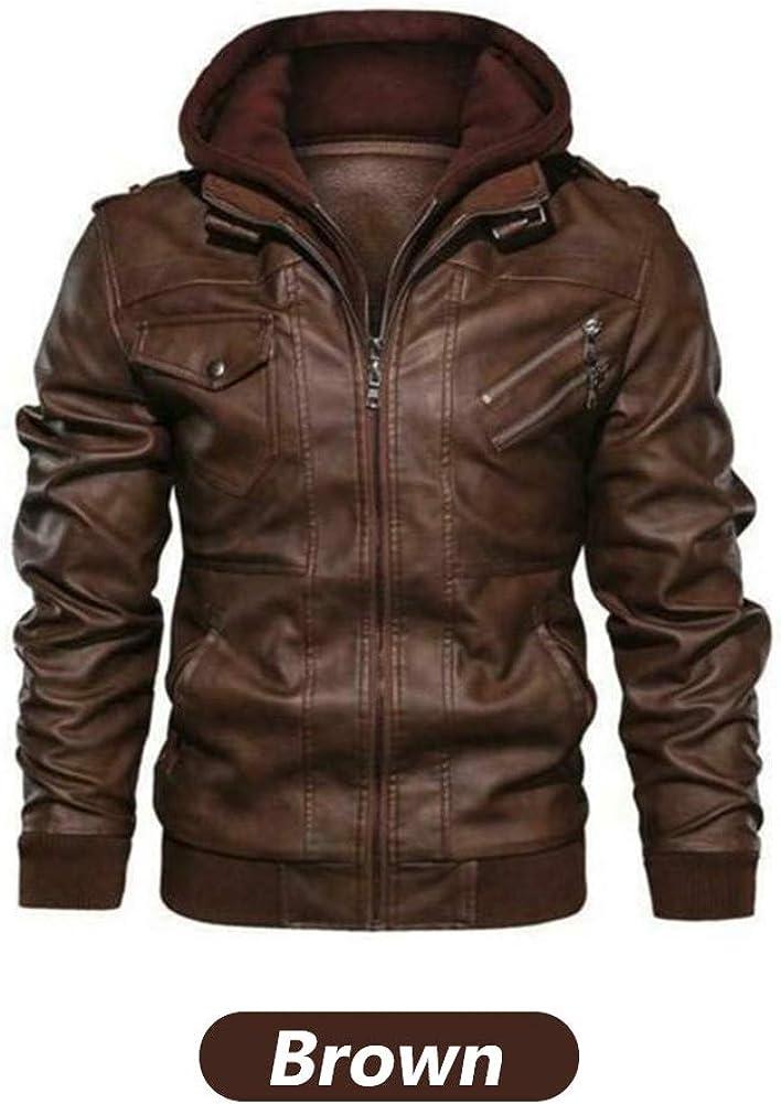 Denzell Outwear Veste en Cuir anarchiste /à Capuche Manteau de Moto Style Motard pour Hommes