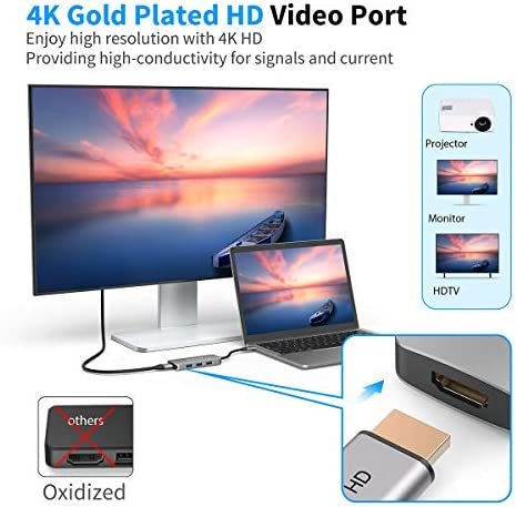 USB C Hub, MacBook Pro Adapter dodocool 7-in-1 Dongle USB C to HDMI 4K, TF/SD Card Reader, 3 USB 3.0, 100W PD Charging for MacBook/Pro/Air, ChromeBook, XPS, Samsung Galaxy 8/9/10, etc