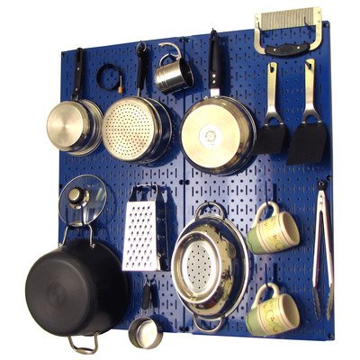 Wall Control 30-KTH-200 BUBU Kitchen Pegboard Organizer Pots and Pans Pegboard Pack Storage and Organization Kit with Blue Pegboard and Blue Accessories