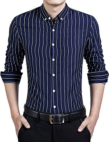 DOKKIA Men's Formal Business Vertical Striped Button Down Long Sleeve Dress Shirts (X-Large, Navy Blue White)