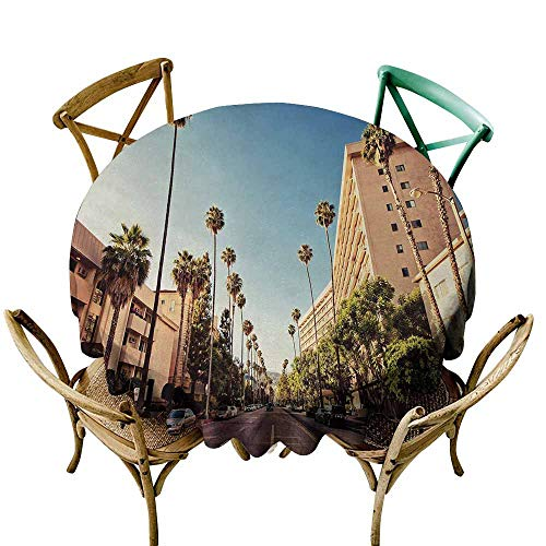 Homrkey Urban Protective Round Tablecloth A Street in Beverly Hills California Palm Trees Houses Famous City Photo Indoor/Outdoor Light Blue Peach Green (Round - 51