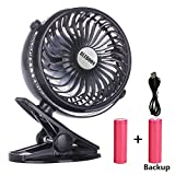 BLUBOON Clip on Fan Battery Operated Fan Portable for Baby Stroller 5'' (Two Batteries, one for Backup)