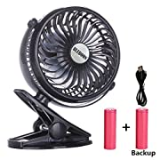 BLUBOON Clip on Fan Battery Operated Fan Portable for Baby Stroller 5  (Two Batteries, one for Backup)